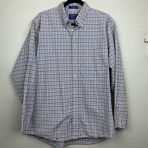 Pendleton Plaid Cotton Button Down Large L Blue